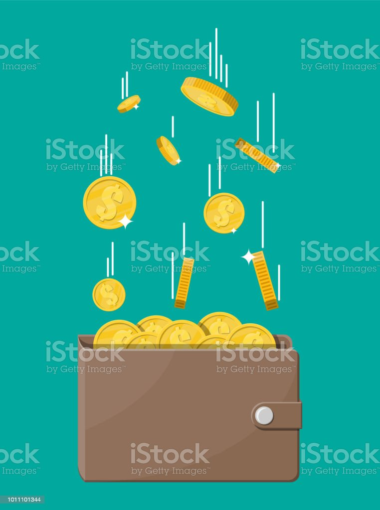 Falling gold coins and leather wallet.