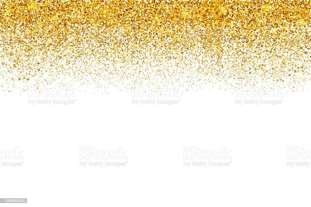 Frontière de confettis or chute isolé sur blanc. Points or poussière vector background. Effet de texture de paillettes d'or. Facile à éditer le modèle - Illustration vectorielle