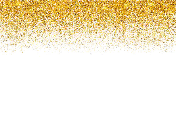 falling gold confetti border isolated on white. golden dots dust vector background. gold glitter texture effect. easy to edit template - блёстки stock illustrations
