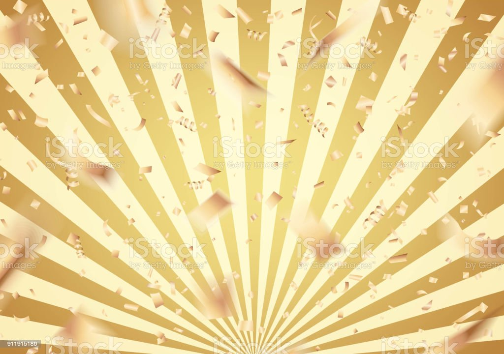 Falling gold confetti on sunburst background vector art illustration