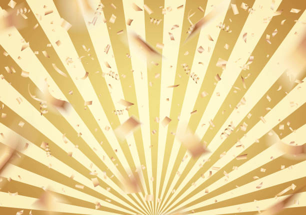falling gold confetti on sunburst background - anniversary backgrounds stock illustrations