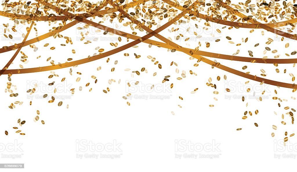 falling gold confetti vector art illustration