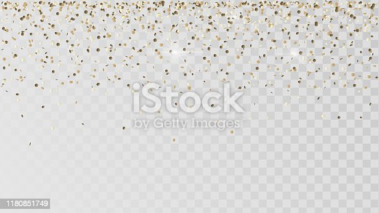 Falling golden confetti on a transparent background, celebration and festival, gold decoration