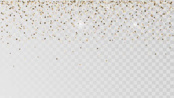 stockillustraties, clipart, cartoons en iconen met vallende gouden confetti - confetti