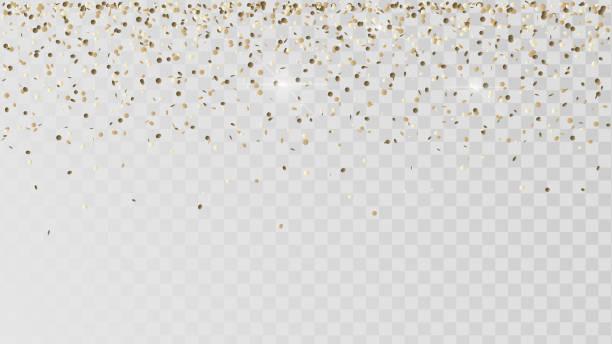 Falling golden confetti Falling golden confetti on a transparent background, celebration and festival, gold decoration glamour stock illustrations