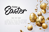 Falling Golden Easter egg and Happy Easter text celebrate, vector art and illustration.