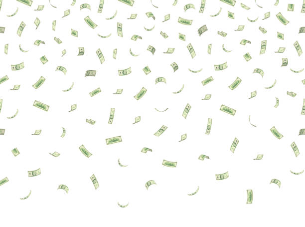 falling hundred dollar banknotes isolated on white background vector illustration - dollar bill stock illustrations
