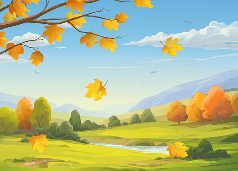 Falling Leaves In Autumn Landscape