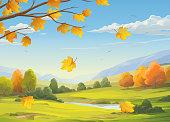 istock Falling Leaves In Autumn Landscape 1274743772