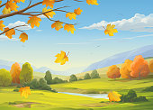 istock Falling Leaves In Autumn Landscape 1274743772