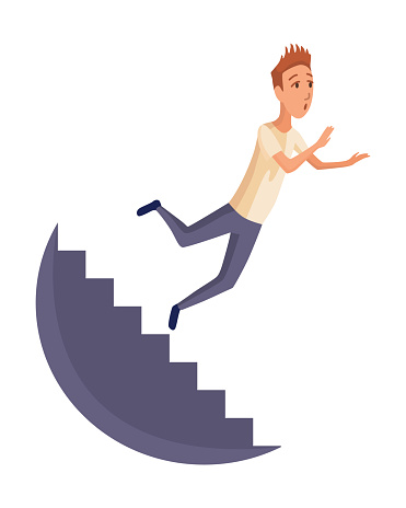 Falling man. Falling down people because fall of stairs, accident. Young men dangerous accident. Danger, risk. Bad luck, misfortune, fiasco. Business failure, company crash concept