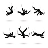 Falling man stick figure pictogram. Different positions of flying person icon set symbol posture on white