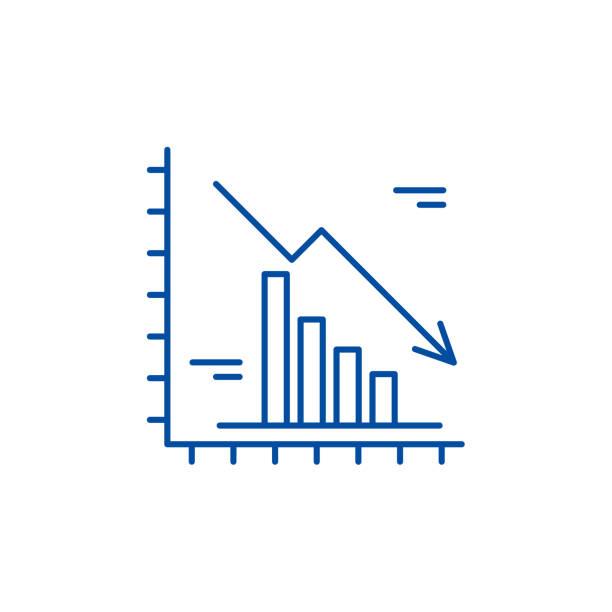 illustrazioni stock, clip art, cartoni animati e icone di tendenza di falling markets line icon concept. falling markets flat  vector symbol, sign, outline illustration. - scheda clinica