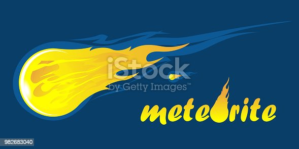 Falling meteorite with inscription Meteorite text with meteor in letter o