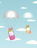 Mobiles falling from the sky with parachutes.