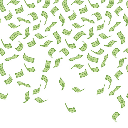 This seamless money background features American dollar bill illustrations falling in various three-dimensional positions. The EPS10 vector file can be repeated horizontally as many times as required, easily coloured and customised to suit your needs and scaled infinitely without any loss of quality.