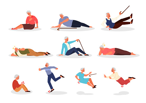 Falling old people set. Retired men and women falling down. Elderly person with cane falling.