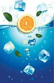 Orange falling in ice water. Vector artwork