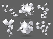 Falling paper sheets. Flying papers pages, white sheet documents and blank document page on wind. Fly scattered notes, empty chaotic paperwork. Isolated vector illustration signs set