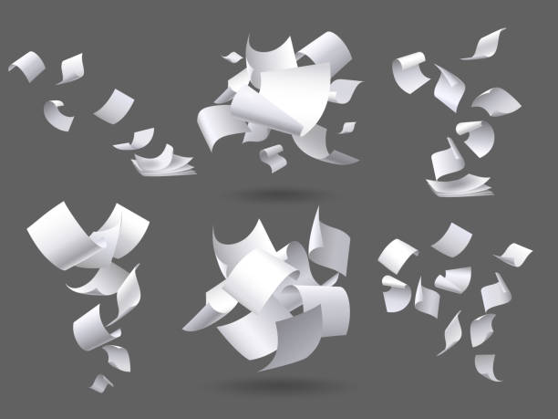 Falling paper sheets. Flying papers pages, white sheet documents and blank document page on wind isolated vector illustration set Falling paper sheets. Flying papers pages, white sheet documents and blank document page on wind. Fly scattered notes, empty chaotic paperwork. Isolated vector illustration signs set mid air stock illustrations