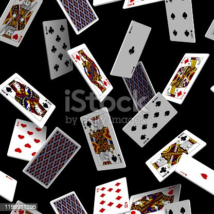 Falling playing cards seamless pattern isolated on black background. Original design in three dimensional style. Vector illustration