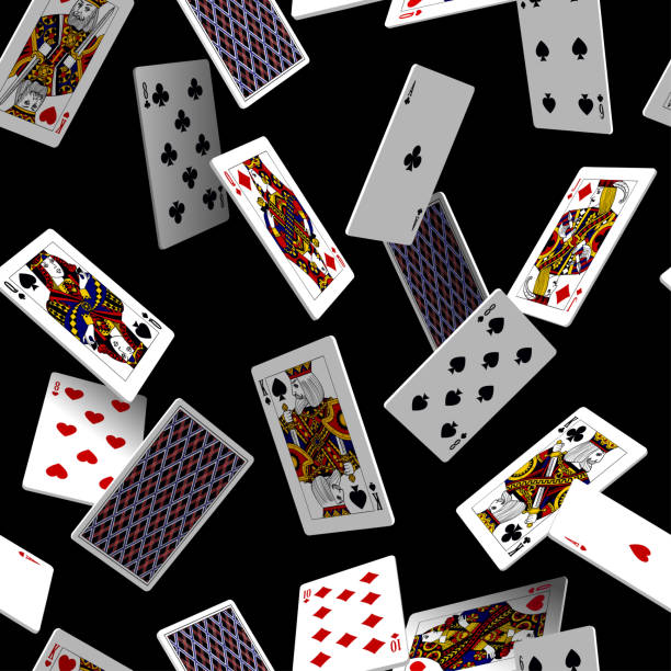 Falling playing cards seamless pattern isolated on black background Falling playing cards seamless pattern isolated on black background. Original design in three dimensional style. Vector illustration poker stock illustrations