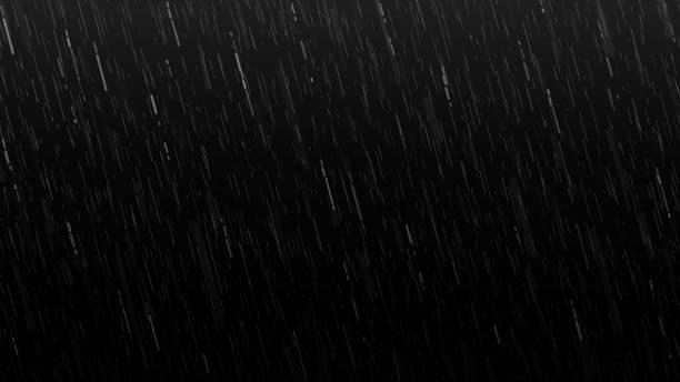 spadające krople deszczu izolowane na czarnym tle - deszcz stock illustrations
