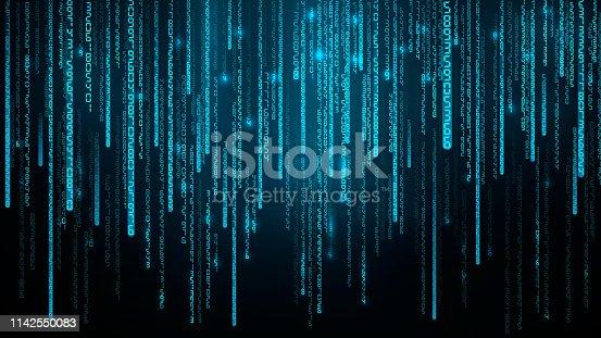 Falling Random Numbers. Blue Matrix Background. Stream of Decimal Digits. Vector illustration