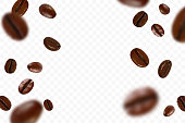 Falling realistic coffee beans isolated on transparent background. Flying defocusing coffee grains. Applicable for cafe advertising. Vector illustration.