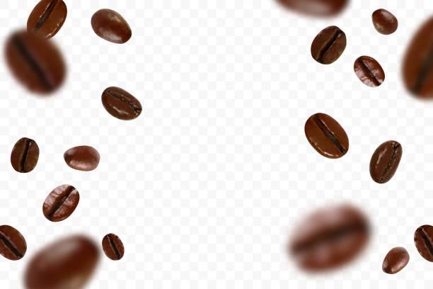 spadające realistyczne ziarna kawy wyizolowane na przezroczystym tle. latające rozmycie ziarna kawy. dotyczy reklamy kawiarni, pakietów, projektowania menu. ilustracja wektorowa. - coffee stock illustrations