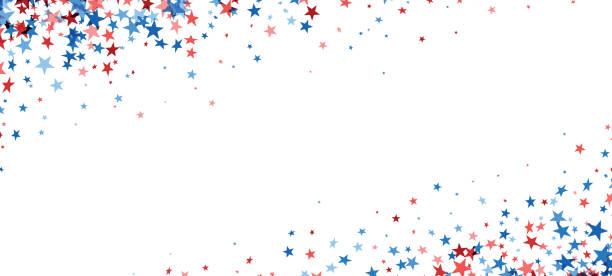 Fallende rote und blaue Sterne. – Vektorgrafik
