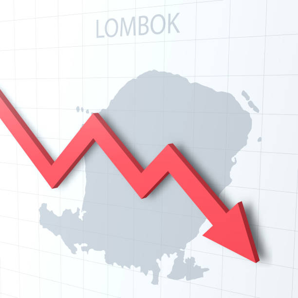 Falling red arrow with the Lombok map on the background Map of Lombok with a red arrow moving down on a white checkered background. Conceptual image. Vector Illustration (EPS10, well layered and grouped). Easy to edit, manipulate, resize or colorize. lagbok stock illustrations