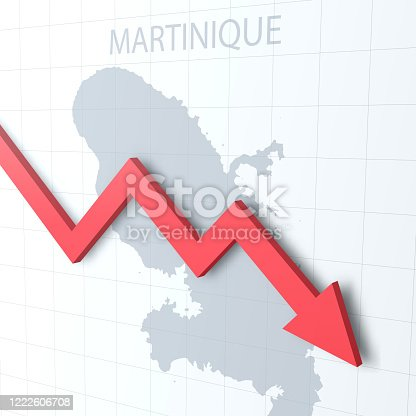 Map of Martinique with a red arrow moving down on a white checkered background. Conceptual image. Vector Illustration (EPS10, well layered and grouped). Easy to edit, manipulate, resize or colorize.