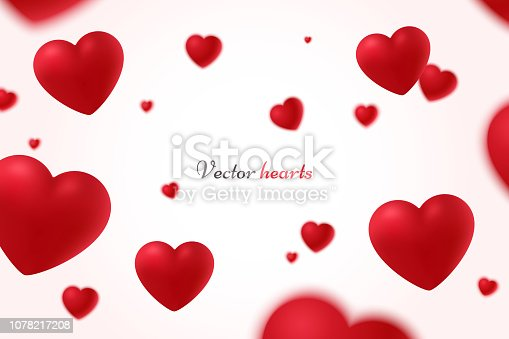 istock Falling red hearts isolated on white background. Symbol of love. Vector illustration with beauty 3d hearts. Applicable for design of wedding greeting cards and St. Valentine's Day. Eps 10 1078217208
