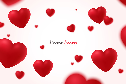 Falling red hearts isolated on white background. Symbol of love. Vector illustration with beauty 3d hearts. Applicable for design of wedding greeting cards and St. Valentine's Day. Eps 10