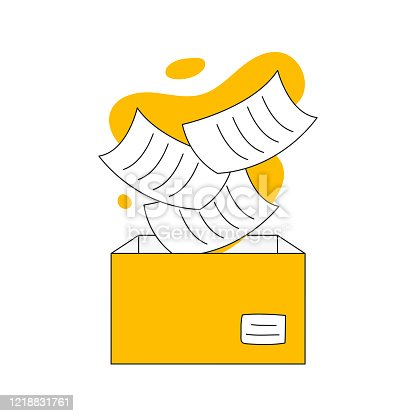 Document storage, save, backup, import or copy files to the cardboard box vector illustration on white.