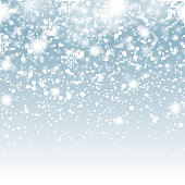 Falling shining snow or snowflakes on blue background for Christmas. Vector.
