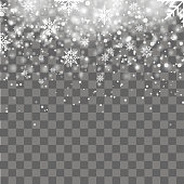 Falling shining snow or snowflakes on transparent background. Vector.