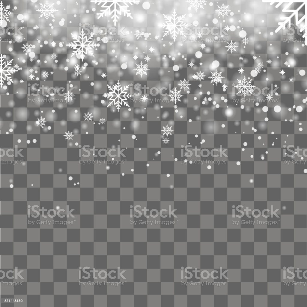 Falling shining snow or snowflakes on transparent background. Vector. vector art illustration