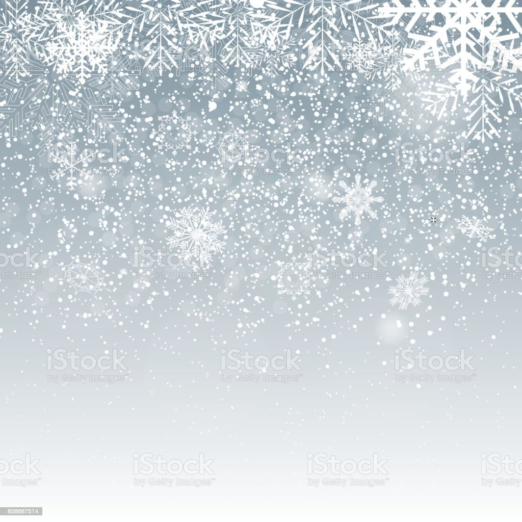 Falling Shining Snowflakes and Snow on Blue Background. Christmas, Winter and New Year Background. Realistic Vector illustration for Your Design