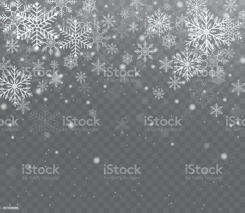 Falling shining transparent snow. vector art illustration