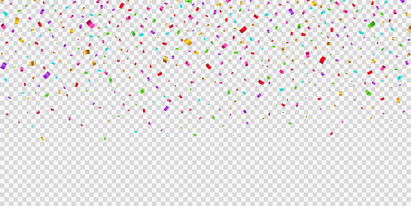 Falling shiny bright confetti on transparent background. Party and birthday festive tinsel in gold, red, pink, purple, blue, yellow and green.