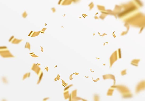 fallend glänzendes goldenes konfetti isoliert auf weißem hintergrund. - confetti stock-grafiken, -clipart, -cartoons und -symbole