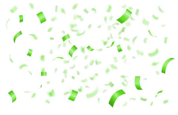 Falling shiny green confetti vector art illustration