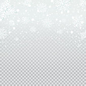 Falling snow backdrop on transparent background. Vector illustration.
