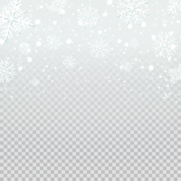 falling snow backdrop on transparent background. - holiday backgrounds stock illustrations, clip art, cartoons, & icons