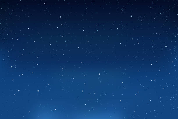 falling snow, blue winter background. snowflakes in the sky. vector - ночь stock illustrations