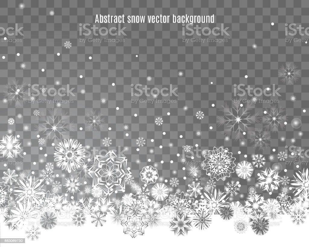 Falling Snow Border On A Transparent Background Stock