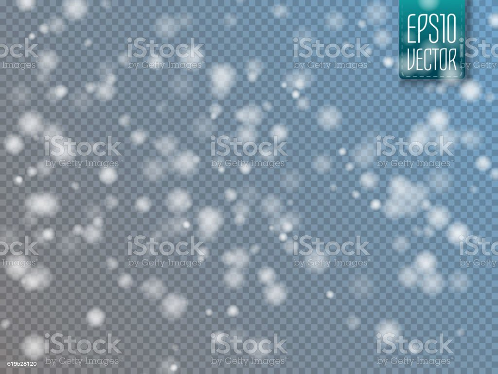 Falling snow effect isolated on transparent background with blurred bokeh.