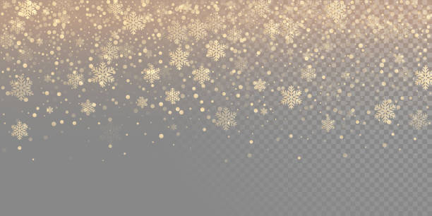 falling snow flake golden pattern background. gold snowfall overlay texture isolated on transparent white background. winter xmas snowflake elementsfor christmas of new year holiday design template - holiday backgrounds stock illustrations, clip art, cartoons, & icons